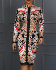 Print Insert Long Sleeve Bodycon Dress