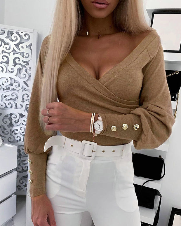 Solid V-neck Long Sleeve Ruched Blouse