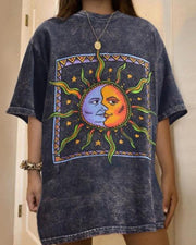 Moon & Sun Print Short Sleeve Loose T-shirts