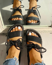 Lace-Up Double Strap Open Toe Flat Sandals