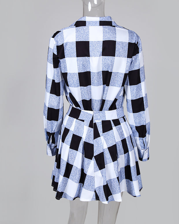 PlaidColorblock Shirt & Tight Wasit Pleated Skirt Sets