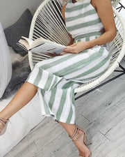 Striped Cutout Waist Wide Leg Jumpsuit