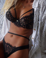 Eyelash Lace Cut Out Lingerie Set
