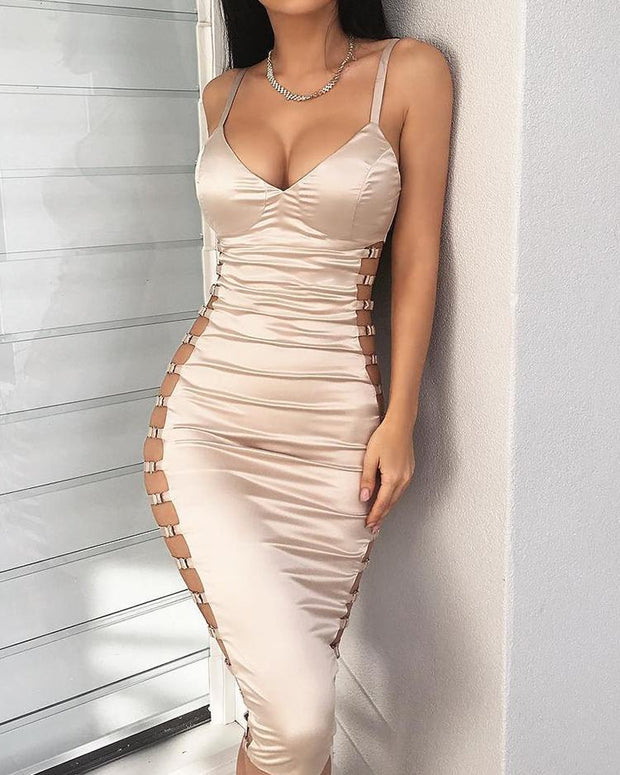 Ladder Cutout Deep V Bodycon Dress