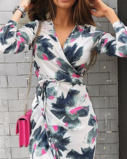 V-Neck Floral Print Tie Waist Wrap Slit Dress