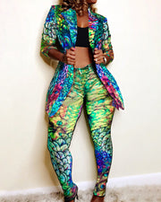 Print Notched Collar Blazer & Pants Sets