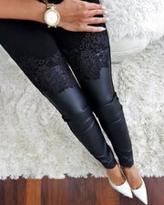Floral Applique Coated PU Insert Pants