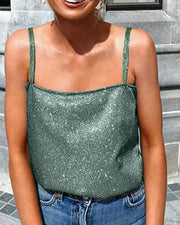 Sequin Square Neck Tank Top