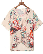 Floral Print Twisted Front Blouse