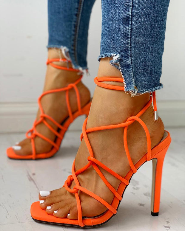 Lace-Up Design Thin Heeled Sandals