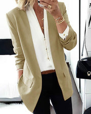 Solid Long Sleeve Pocket Design Blazer Coat