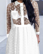 Long Sleeve Dots Sheer Mesh Dress