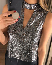Glitter Sleeveless Sequins Blouse