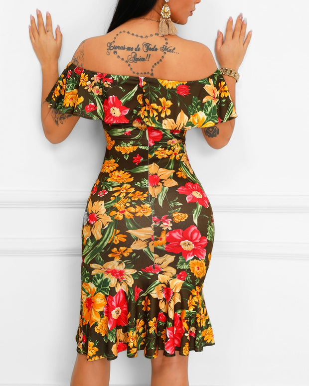 Floral Print Ruffles Fold-Over Bodycon Dress
