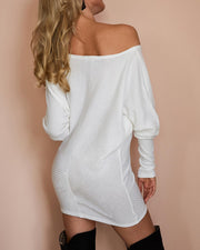 White Skew Neck Batwing Sleeve Casual Blouse