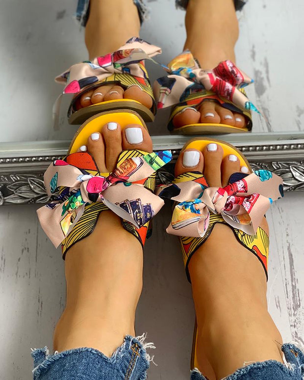 Floral Print Bowknot Design Casual Sandals