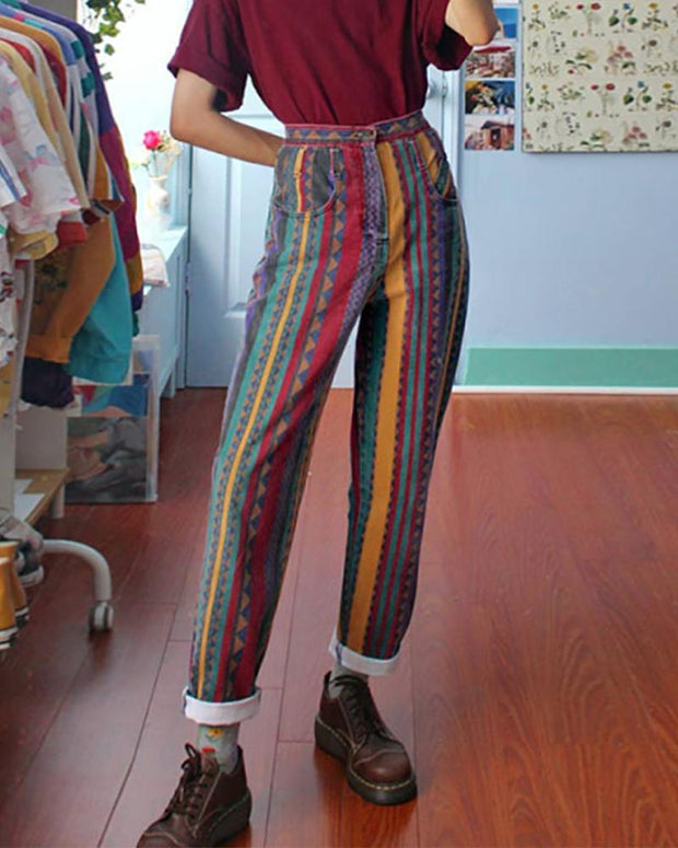 Striped Colorblock Loose Straight Pants