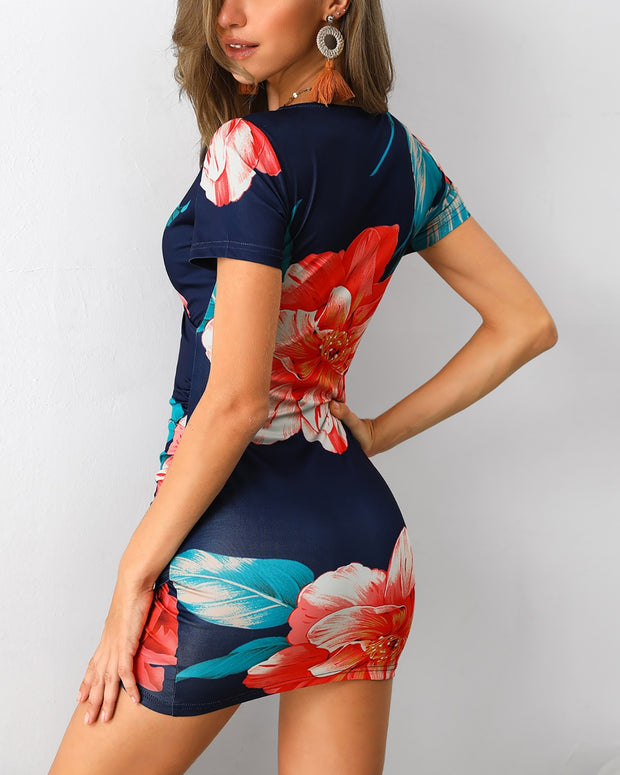 Floral Print Surplice Wrap Bodycon Dress