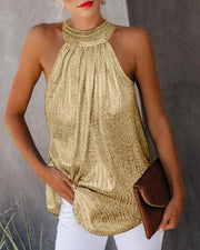 Metallic Halter Neck Sleeveless Top