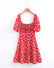 Floral Print Short Sleeve Casual Dress
