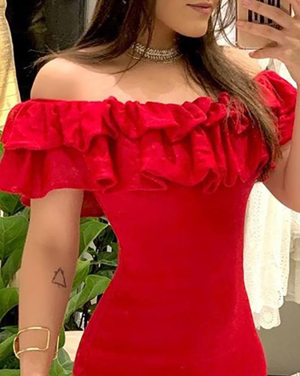 Off Shoulder Ruffles Lace-Up Detail Dress