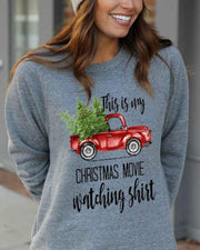 Christmas Letter Printing Long Sleeve Blouse