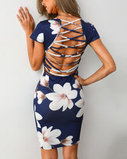Floral Print Lace-Up Back Bodycon Dress