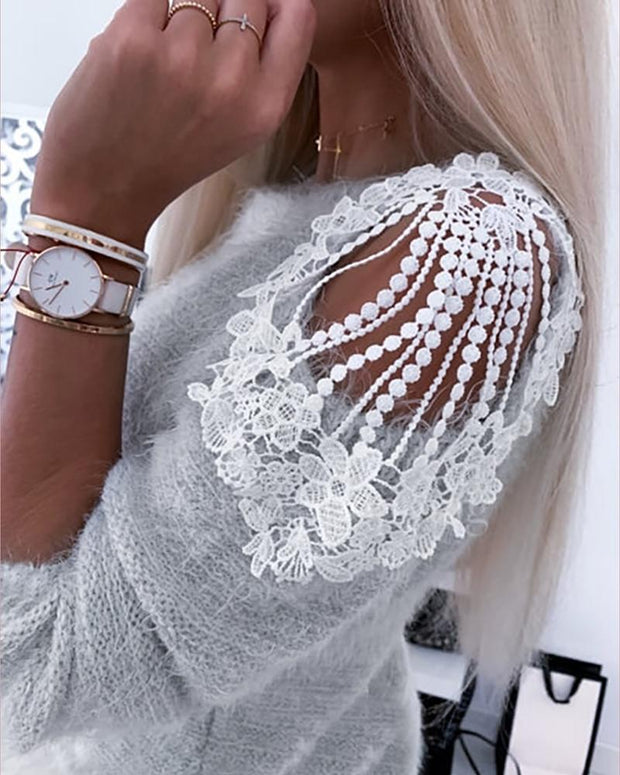 Crochet Lace Hollow-out Shoulder Sweater