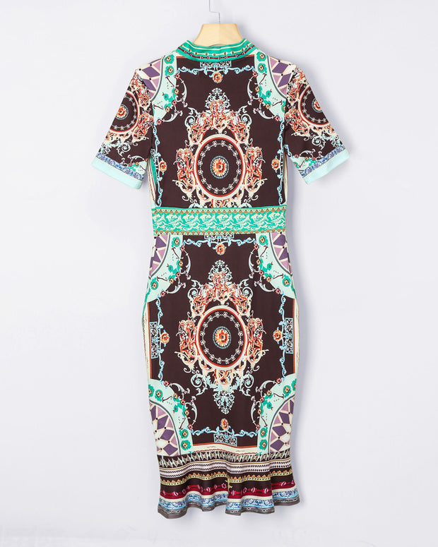 Retro Print Tie Neck Short Sleeve Dress