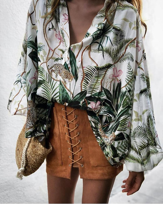 Botanical Print Long Sleeve Casual Blouse