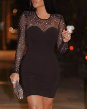 Hot Stamping Semi Sheer Patchwork Bodycon Dress