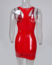 Racer Back Coated PU Bodycon Dress