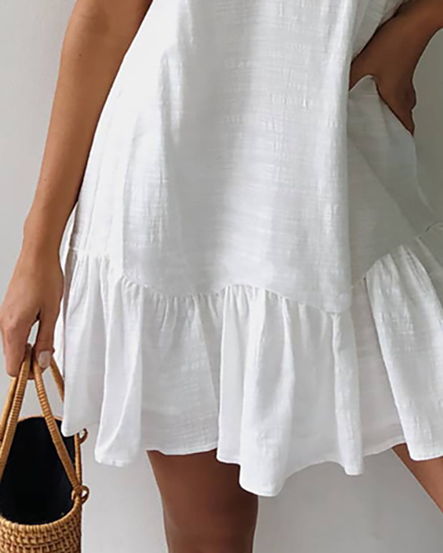 Spahgetti Strap Ruffles Hem Casual Dress