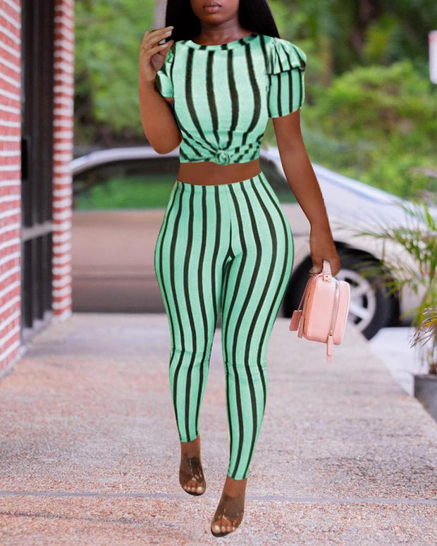 Puff Sleeve Striped Top & Pants Sets