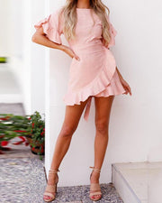 Ruffle Bishop Sleeve Self-belted Wrapover Hem Dress