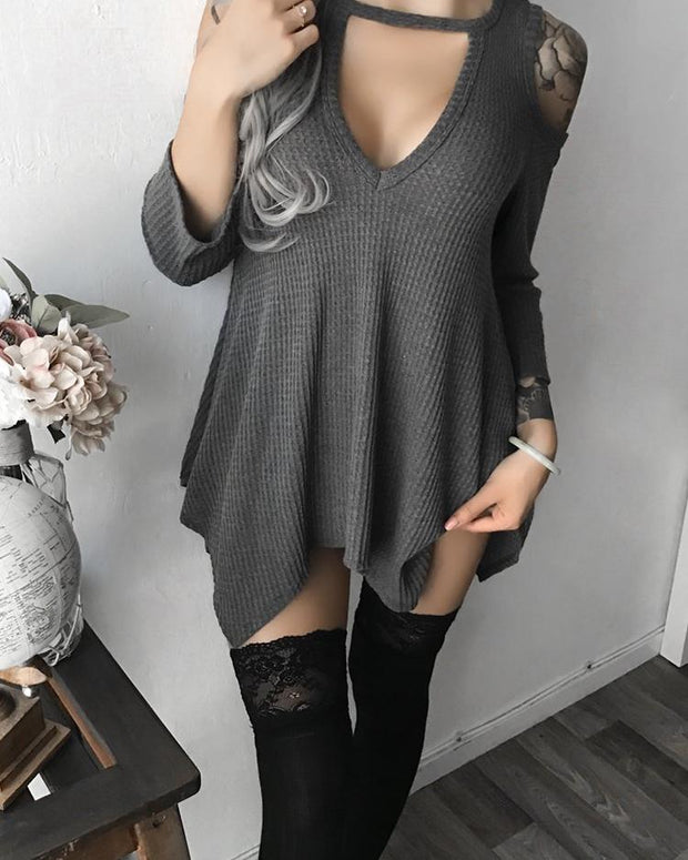 Open Shoulder Cutout Irregular Mini Dress