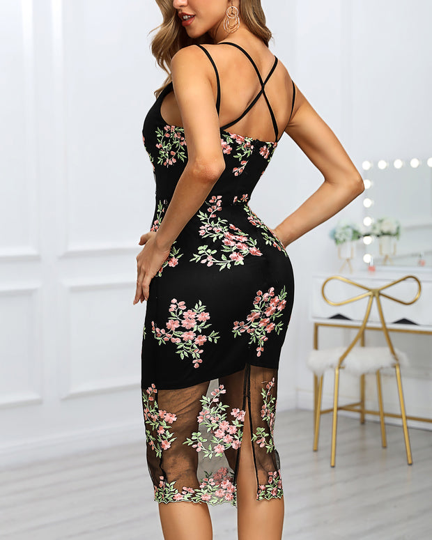 Mesh Spaghetti Strap Floral Embroidery Midi Dress