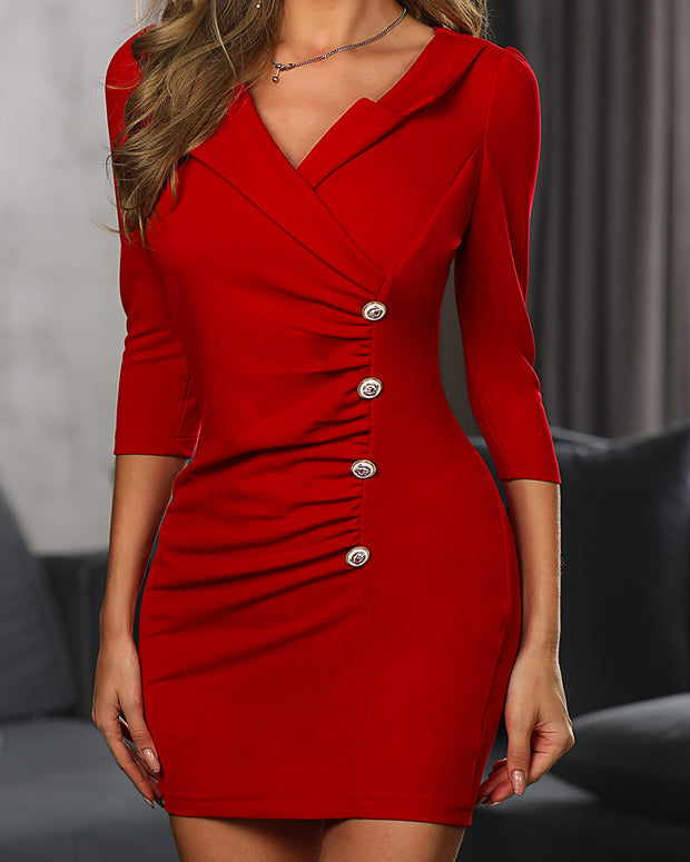 Ruched Button Design Bodycon Dress