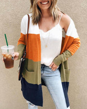 Colorblock Long Sleeve Pocket Longline Cardigan