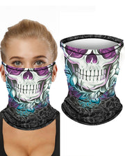 Skull Print Breathable Ear Loop Face Bandana Headwrap