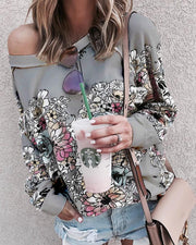 Flower Printing Long Sleeve Blouse