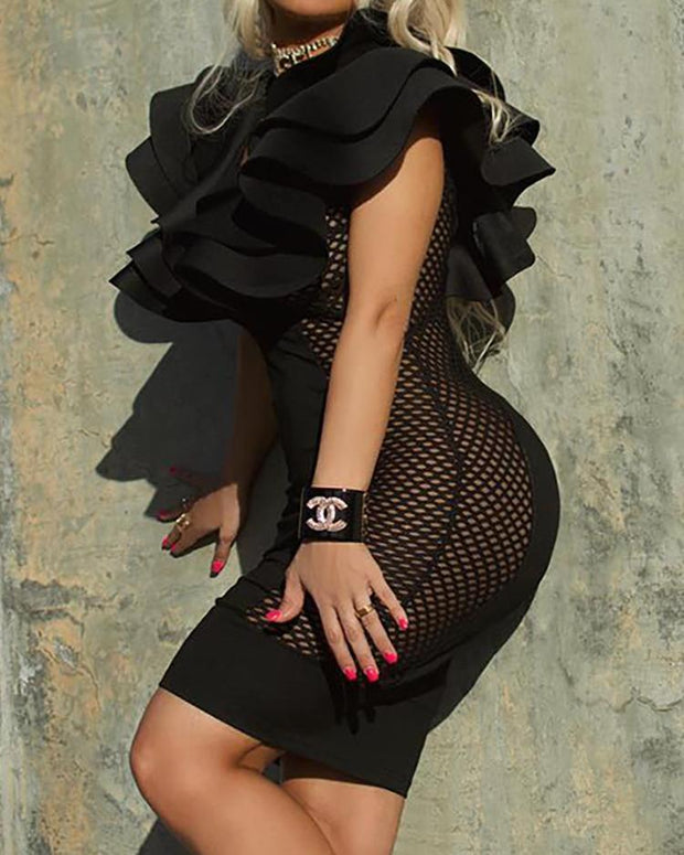 Layered Ruffles Fishnet Splicing Bodycon Dress