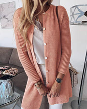 Ribbed Button Long Sleeve Cardigan