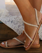 Beaded Design Toe Ring Casual Sandals