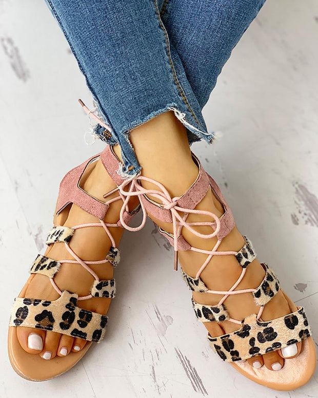 Leopard Print Lace-Up Ankle Flat Sandals