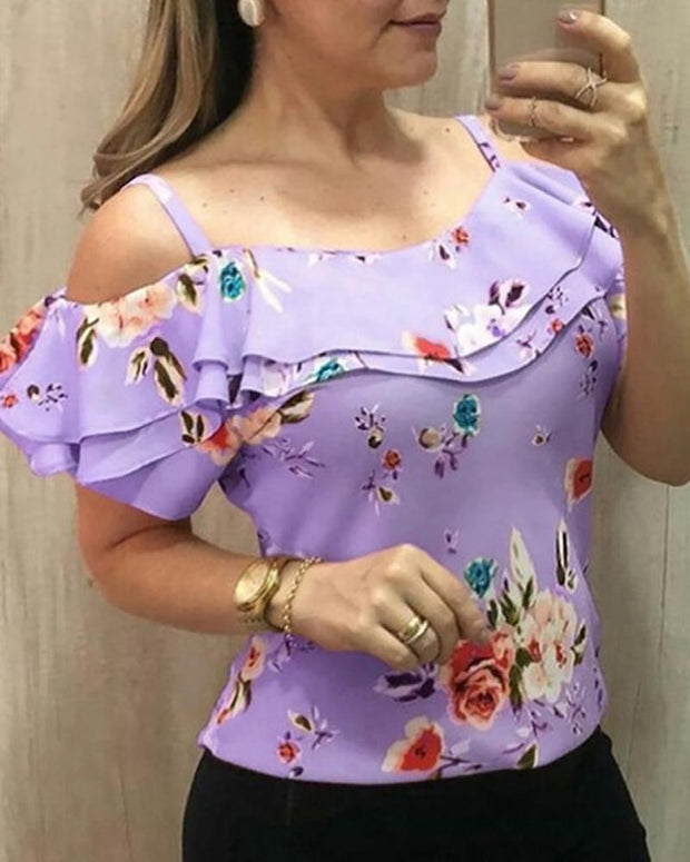 Floral Print Ruffled Cold Shoulder Tops