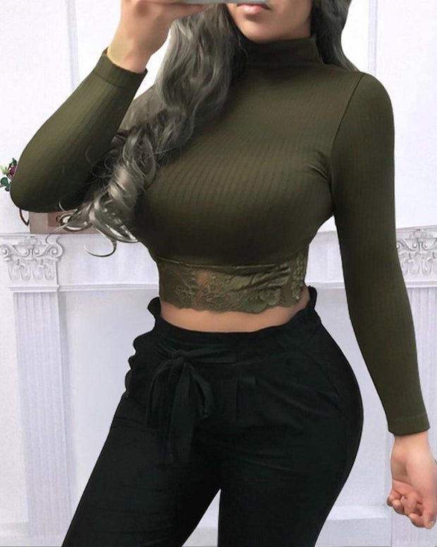 Solid Lace Hem Crop Top