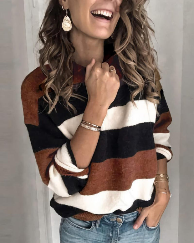 Colorblock Striped Round Neck Sweater