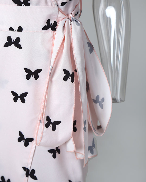 Butterfly Print Surplice Wrap Knotted Dress