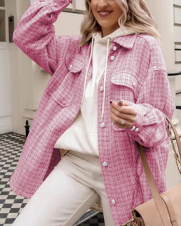 Plaid Long Sleeve Loose Tweed Coats